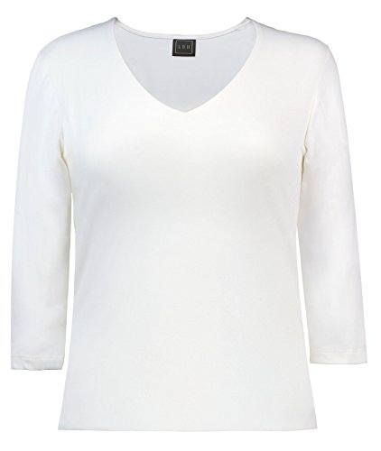 - LBH Women's 3/4 Sleeve V-Neck Top M, WHT-White, Medium