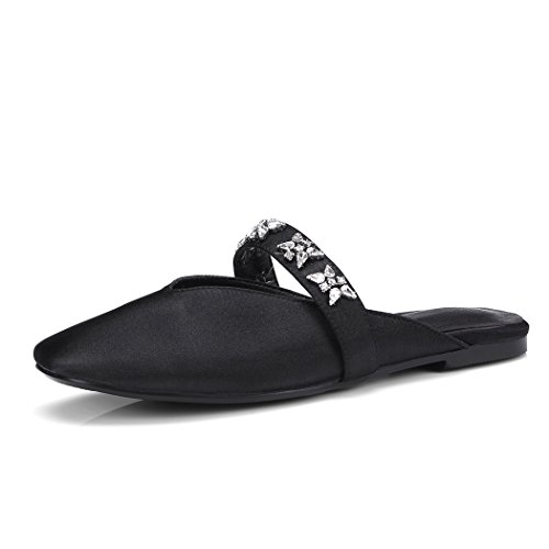 wetkiss 2018 Summer Women Slippers Square Toe Slides Pu Flat Sole Footwear New Fashion Casual Ladies Mules Shoes Big Size 43 Black LsRe3OR9P