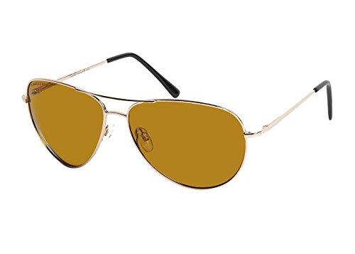 (Eagle Eyes Maven Polarized Sunglasses- UVA, UVB and Blue Light Blocking Protection - Gold Frames)