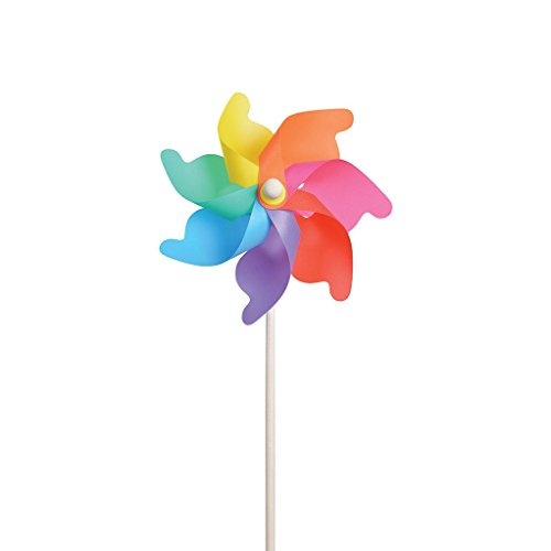 Large Plastic Pinwheel On Wood Stick - 12 Inch Diameter