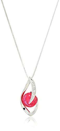 10k White Gold Created Ruby and Diamond Accent Flame Pendant Necklace