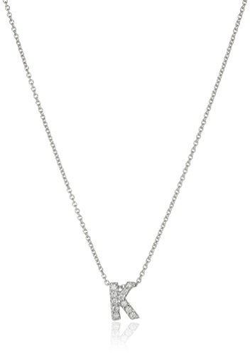 Roberto Coin Tiny Treasures Love Letter 18k White Gold Diamond Block Letter K Pendant Necklace (Roberto Necklace Diamond 18k / Coin)