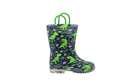 Revo Toddler Boys Rainboot Cute Animal Printed with Easy-On Handles Waterproof Shoes (9-10 M US Toddler, Green) ()