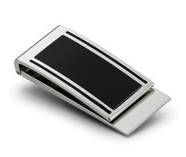 New - Eric Silver Plated Black Matte Money Clip - VMC903