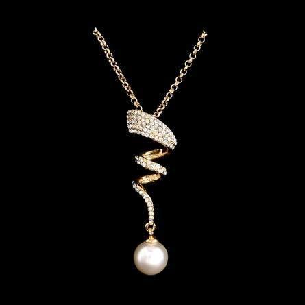 Cadeau Anniversaire G/én/érique Parure de Mariage Femme Cadeau St Valentin Parure de Mariage Perles Ensemble Collier et Boucles doreilles Couleur Or Parure Perle