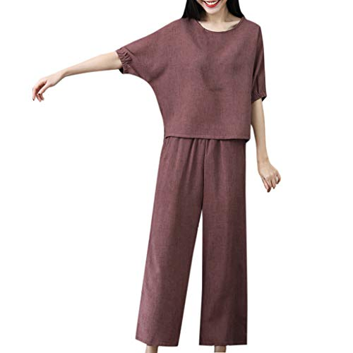 Womens 2 Pieces Outfits Bamboo Cotton Linen Solid