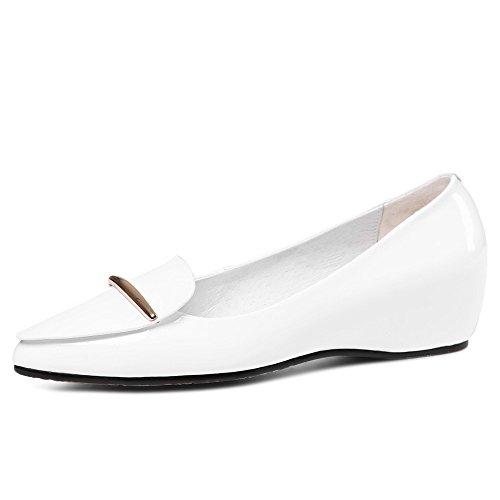 Nine Seven Cuero Moda Puntiagudos Zapatos de Tacón Grueso de Trabajo para Mujer blanco