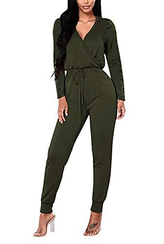 VamJump Women Deep V Neck Long Sleeve Wrap One Piece Romper Jumpsuit Green XL (Long Sleeve Romper)