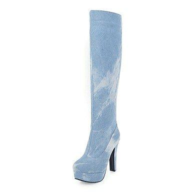 RTRY Zapatos De Mujer Denim Otoño Invierno Cowboy Western / Botas Botas Chunky Talón Plataforma Puntera Redonda Rodilla Botas Altas Gore Cremallera Para Vestimenta Casual US12 / EU44 / UK10 / CN46
