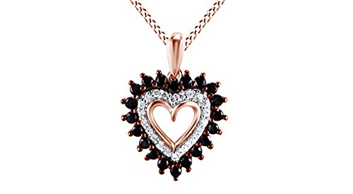 Jewel Zone US Black White Natural Diamond Shadow Heart Pendant Necklace 14k Rose Gold Over Sterling Silver (1/10 Ct)