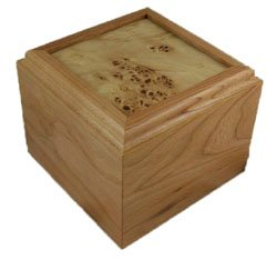 - Solid Cherry Pet Urn - Frame Top Mappa Burl - 70 Cubic Inch Capacity
