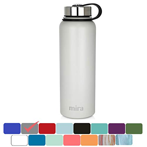 MIRA 40 Oz Stainless Steel Vacuum Insulated Wide Mouth Water Bottle | Thermos Keeps Cold for 24 Hours, Hot for 12 Hours | Double Walled Powder Coated Travel Flask | Gray - Aluminum Wide Mouth Bottle