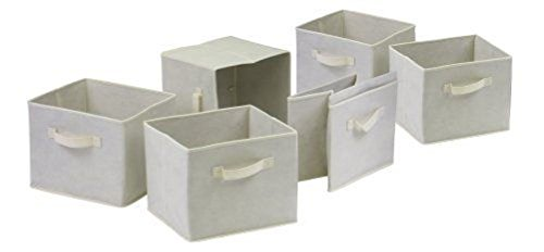 Capri Set of 6 Foldable Fabric Storage Baskets Beige- Containers Bins by BestdealForever Home Series