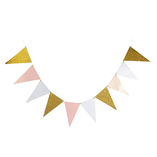 Takefuns 10 Feet Vintage Style Triangle Flag Bunting Glitter Paper Pennant Banner Kit for Wedding Anniversary Birthday Party Church Back-to-School Ball Cocktail Party