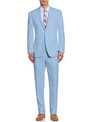 DTI BB Signature Italian Men's Suit Linen Two Button Jacket 2 Piece Modern Fit (40 Short US / 50S EU/W 34