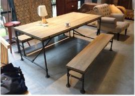 Industrial-Square-Coffee-Table-Wood-Metal-Steel-Pipe-Living-Room-Bedroom-Hipster