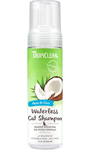 TropiClean Waterless Dander Reducing Shampoo for Cats, 7.4oz, Made in USA