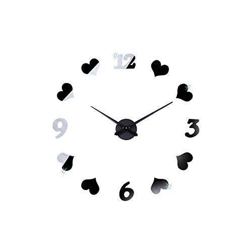 Wall Clock of 3D DIY Love Arabic Number,Frameless Mirror Decor Sticker Clock,Removable Wall Clock Silent Non-Ticking for Home Living Room Bedroom Office Decoration(Argent) (Clock Wall Argent)