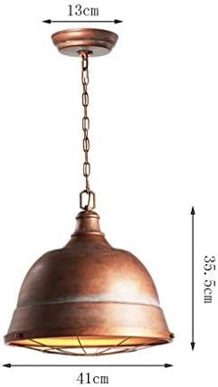 H.Y.BBYH Pendant Lamp Industrial Retro Chandelier Creative Retro Chandelier Round Copper Metal Lampshade Dining Chandelier 41CM 5W Chandelier