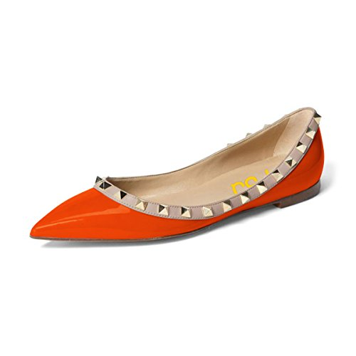 FSJ Women Comfortable Slip On Flats Pointed Toe Low Heel Pumps Office Dress Rivet Shoes Size 4-15 US Orange