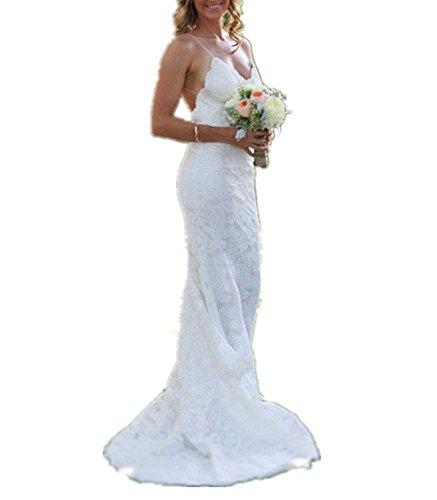 CharmingBridal Women's Spaghetti Backless Lace Beach Wedding Dresses