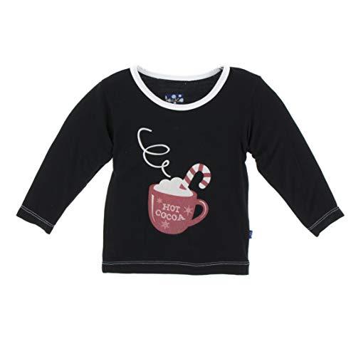Kickee Pants Little Boys and Girls Holiday Long Sleeve Piece Print Tee, Midnight Hot Cocoa, - Tee Cocoa Hot