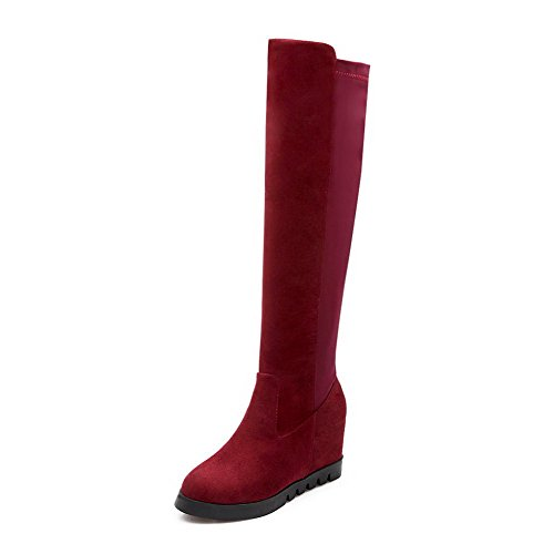 High Boots Toe Allhqfashion top Women's Claret Frosted Heels Round High Closed Solid qqv4I