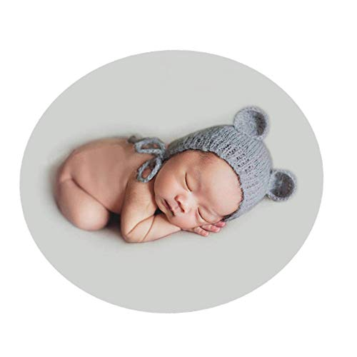born Boy Girl Costume Knitted Baby Photography Props Bear Hat Headdress Grey ()