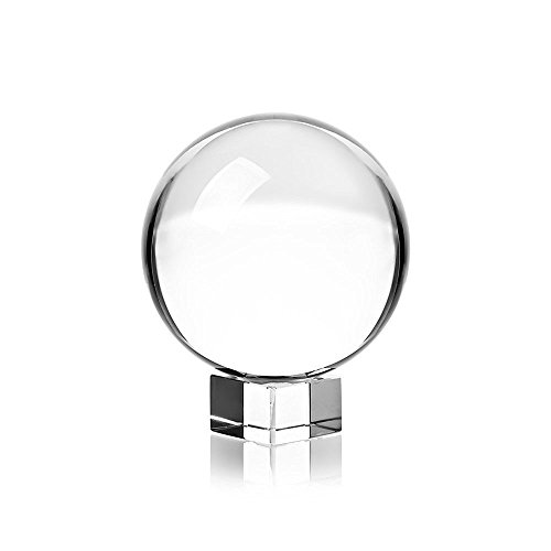 Fortune Teller Costume Crystal Ball (Clear Crystal Ball with Stand, 60mm Art Decor K9 Crystal Prop for Photography Decoration)