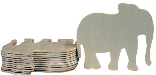 (Creative Hobbies 4 Inch Unfinished Wooden Elephant Shapes, Pack of 12, Ready to Paint or Decorate)