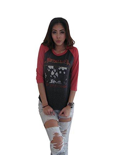 Bunny Brand Women's Metallica Concert World Tour Rock Music Raglan T-Shirt,Small