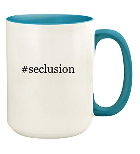 #seclusion - 15oz Hashtag Ceramic Colored Handle and Inside Coffee Mug Cup, Light Blue