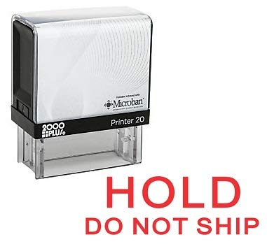 Hold DO NOT Ship Office Self Inking Rubber Stamp - Red Ink (A-5882)
