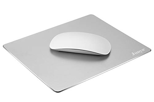 Hard Silver Metal Aluminum Mouse Pad Mat,Junya Mouse Pad Double Side Design, Aluminum Surface and Non-Slip Rubber Base,Ultra Thin,Fast and Accurate Control for Gaming (8.66x7.08x0.08inch-Silver)