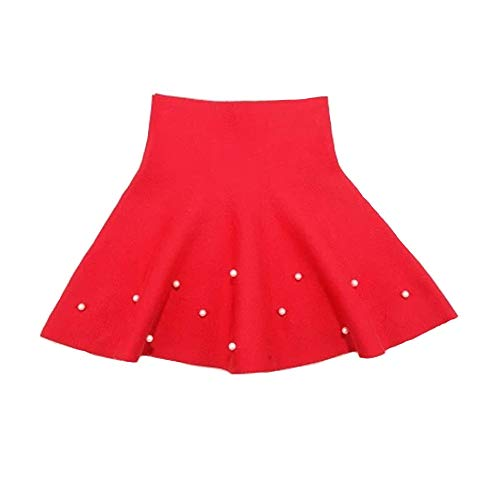 - Girls High Waist Knitted Flared Pleated Skater Skirt Casual Beadings Mini Skirt Red-B Tag 120 (5-6 Years)