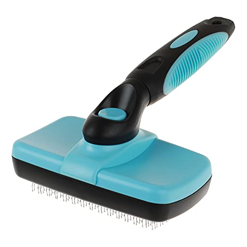 Smartelf Pet Grooming Brush for Dog and Cat,Self Cleaning Pet Hair Brush Slicker for Long & Short Hair Dog,Gently Removes Loose Hair,Fur,Undercoat,Mat Tangled Hair(blue)