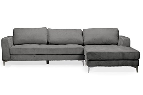 Right Facing Sectional - Baxton Studio Agnew Contemporary Light Beige Microfiber Right Facing Sectional Sofa