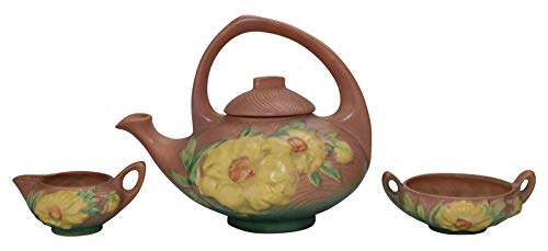 (Roseville Pottery Peony Pink Tea Set 3)