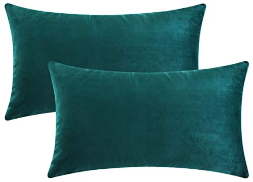 (Mixhug Set of 2 Cozy Velvet Rectangle Decorative Throw Pillow Covers for Couch and Bed, Teal, 12 x 20 Inches)