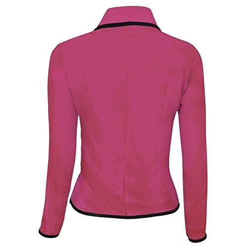 Festa Casual Style Blazer Rot Cappotto Lunga Tailleur Autunno Outwear Fit Rose Tasche Anteriori Bavero Slim Ragazze Manica Single Donna Vita Breasted Elegante Alta Corto Moda 88Ux0q4