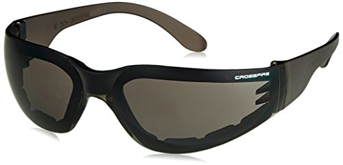 Crossfire 541AF Shield Foam Lined Crystal Black Frame Safety Sunglasses with Smoke - Foam Lined Sunglasses
