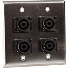 2-Gang Stainless Steel Wall Plate with 4 Neutrik NL4MP 4-Pole Speakons-by-TecNec (Steel Wall Plate Professional)