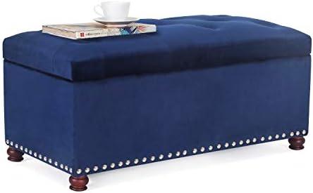 Furnistar 35.4 Rectangular Tufted Fabric Storage Ottoman Bench