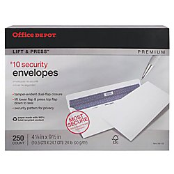 Recycled Premium Envelopes (Office Depot Lift Press(TM) Premium Envelopes, #10 (4 1/8in. x 9 1/2in.), 100% Recycled, White, Pack Of 250, 76148)