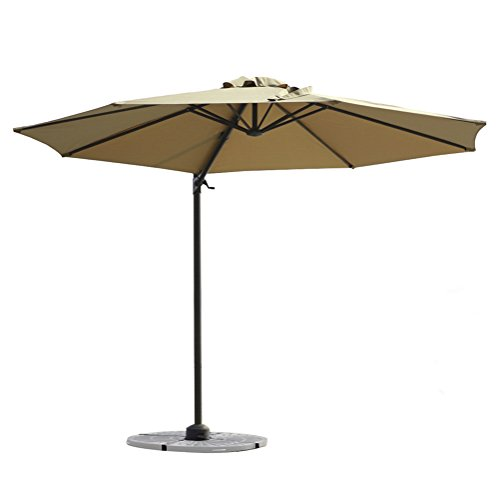 FLAME&SHADE 10′ Offset Cantilever Umbrella for Outdoor Deck, Garden, Patio, Pool Area, Infinite Tilting, 360° Rotate, Cross Base, Beige