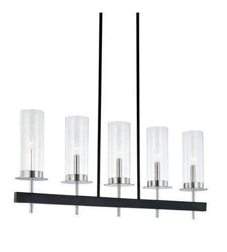 Sonneman Lighting 4065.54 Tuxedo 5-Light Island Light In Polished Chrome and Black