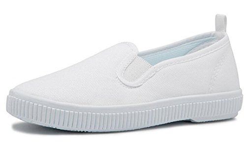 Bumud Kids Boy's Girl's Slip on White Canvas Shoe Uniform Sneaker(Toddler/Little Kid) (12 M US Little Kid, White) - Kid White Shoe Sneaker