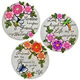 Garden Collection Spring Cement Stepping Stones with Inspirational Sayings - Set of 3 by Garden Collection