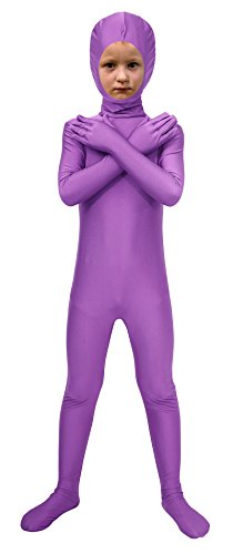 Purple 2nd Skin Suit Kids Costumes (Sheface Spandex Face Out Second Skin Zentai Full Body Costume (Small, Light Purple))