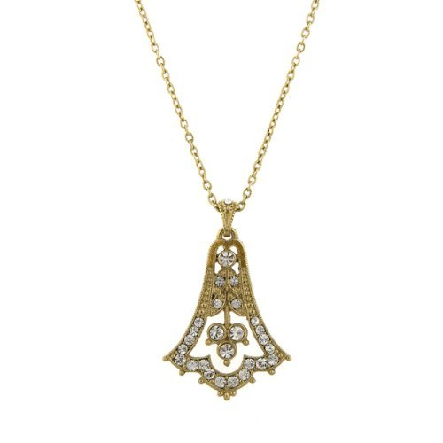 Downton Abbey Gold Tone Pave Crystal Bell Drop Necklace by Downton Abbey